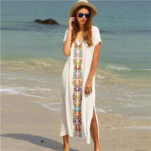 Load image into Gallery viewer, White Embroidery V Neck Split Side Maxi Dress