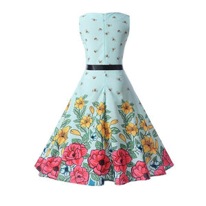 A Line Tree Print Vintage Sleeveless Dress