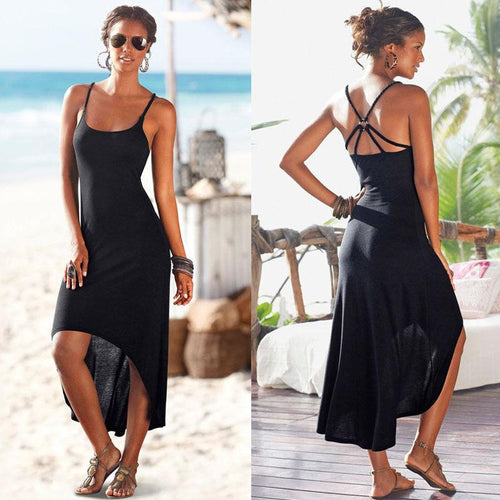 Sexy Summer Strap Sleeveless Asymmetrical Hem Slim Party Long Black Boho Maxi Dress