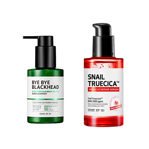 BYE BYE BLACKHEAD BUBBLE CLEANSER + SNAIL TRUECICA MIRACLE REPAIR SERUM SET