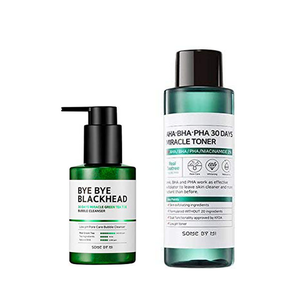 BYE BYE BLACKHEAD BUBBLE CLEANSER + AHA BHA PHA 30 DAYS MIRACLE TONER SET