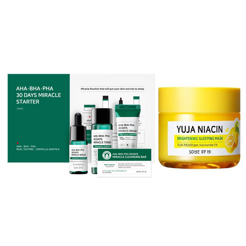AHA-BHA-PHA 30 DAYS MIRACLE STARTER + YUJA NIACIN BRIGHTENING SLEEPING MASK SET