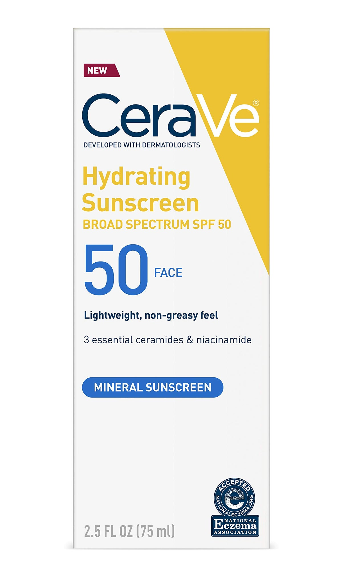 Cerave Hydrating Mineral sunscreen for face 50spf 2.5oz