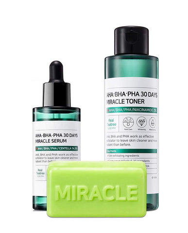 AHA BHA PHA 30 DAYS MIRACLE TRIO SET [Soap + Toner + Serum]