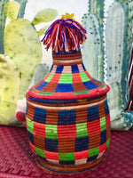 Vintage Berber Basket multi-color XL - Lilasouk