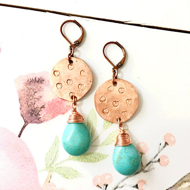 FREE SPIRIT Hammered Copper Wirewrapped Howlite Turquoise Earrings