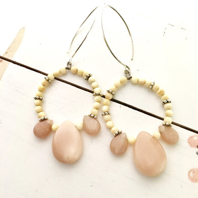 ALLURE Pink Moonstone Fossil Mammoth Ivory Earrings