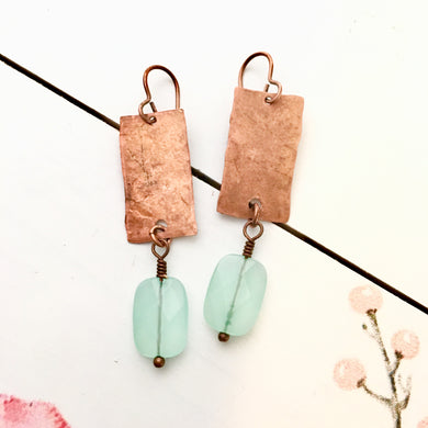 FREE SPIRIT Hammered Copper Faceted Blue Chalcedony Earrings