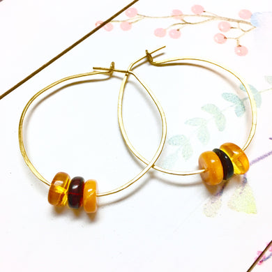 SWEET & SIMPLE Baltic Amber Hammered Gold Wire Hoop Earrings