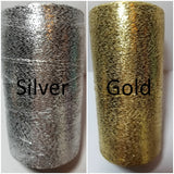 silver and gold shimmer thread