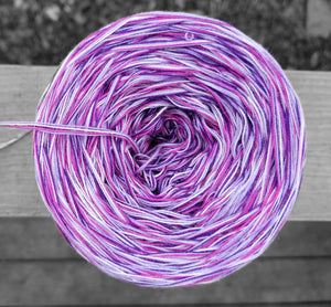 white and pink variegated yarn