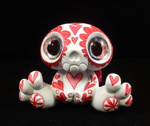 Customized Designer Toy -  Red Calavera Sugar skull