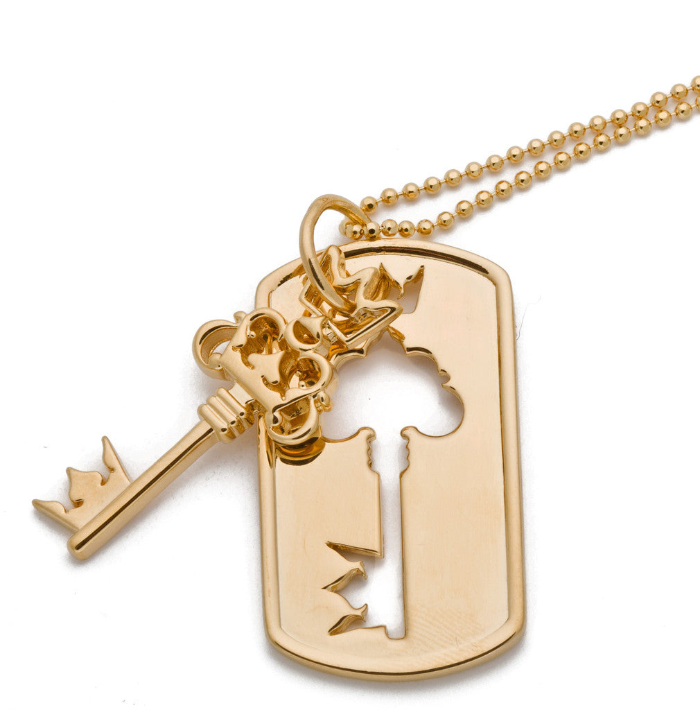 Small Key Dog Tag Necklace