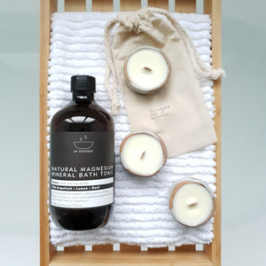 Bath Tonic and Stoneware Tealight Candles Gift Set