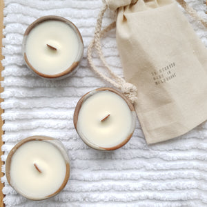 Stoneware Tealight Candle Trio