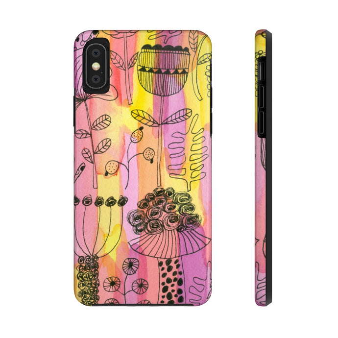 Botanical Floral 1 - Pen Drawing - Mate Tough Phone Case