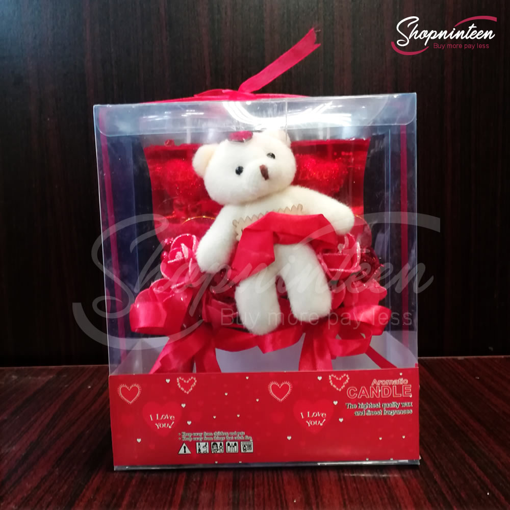 Cute Teddy And Couple Glass Candle