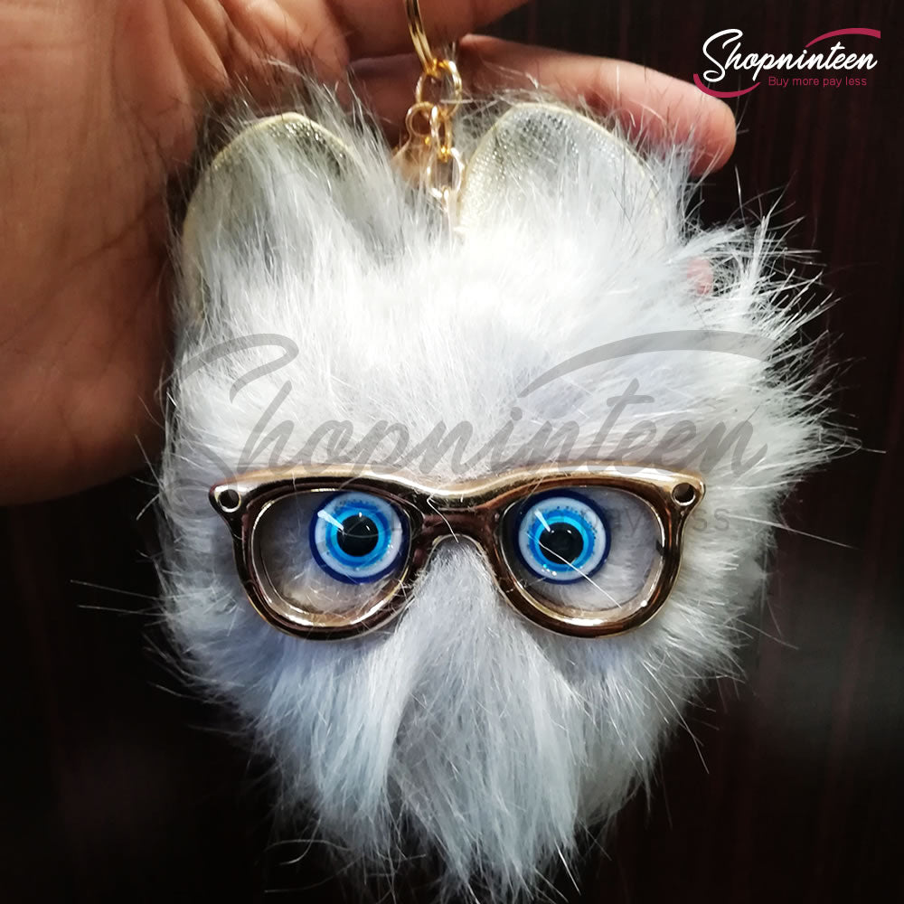 Cat Face with Glasses Keychain