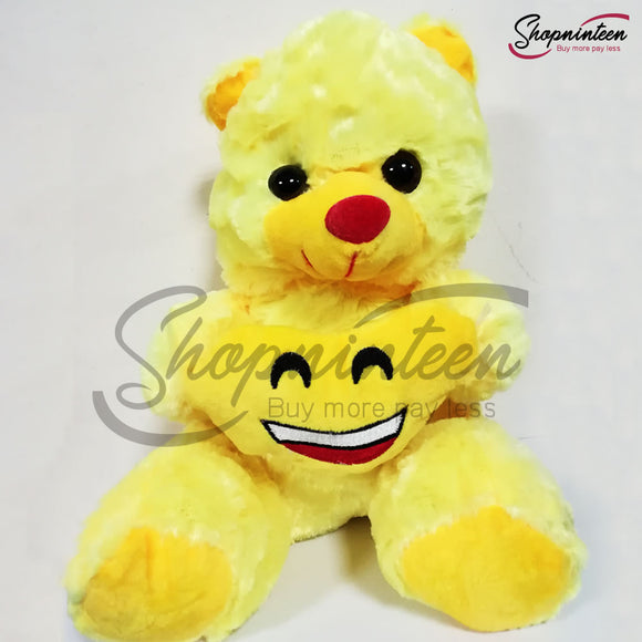 Yellow Teddy Bear with smiling heart