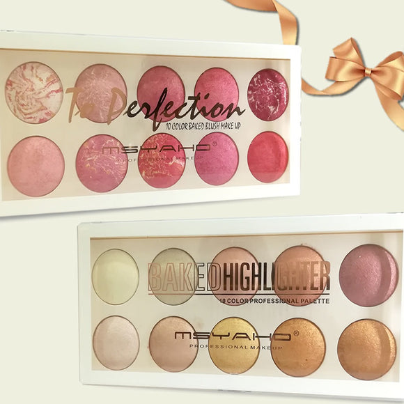 10 COLOR PROFESSIONAL BAKED  HIGHLIGHTER PALETTE