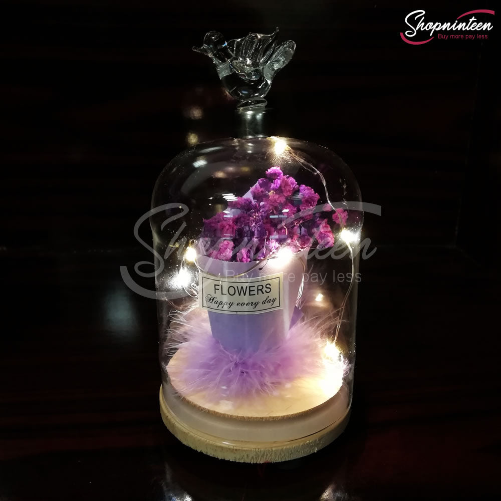 LED Jar with Colorful Rose Y4