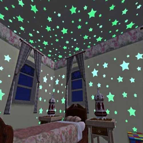 Night Glow Stars for Kids Room Pack of 100
