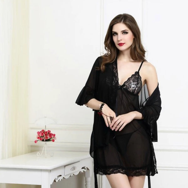 2 Piece Lace Nightwear Sexy With Panty For Ladies