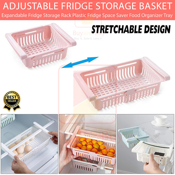 Extendable Plastic Tray Drawer for Fridge Pack of (2)