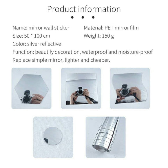 Waterproof Self Adhesive Stickers Film Mirror 50X100cm