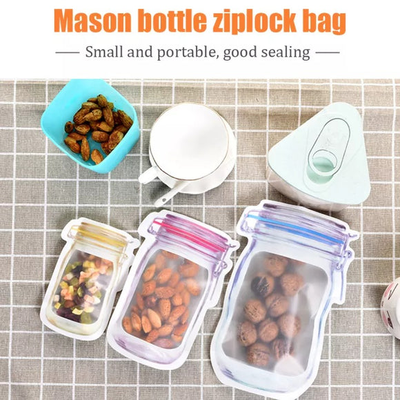 3 PCS Mason Bag Jar Zipper Bags Food Storage/Reusable
