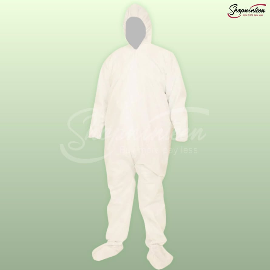 UNISEX PLAIN HAZMAT DISPOSABLE HOODED SUIT WITH SHOE COVER