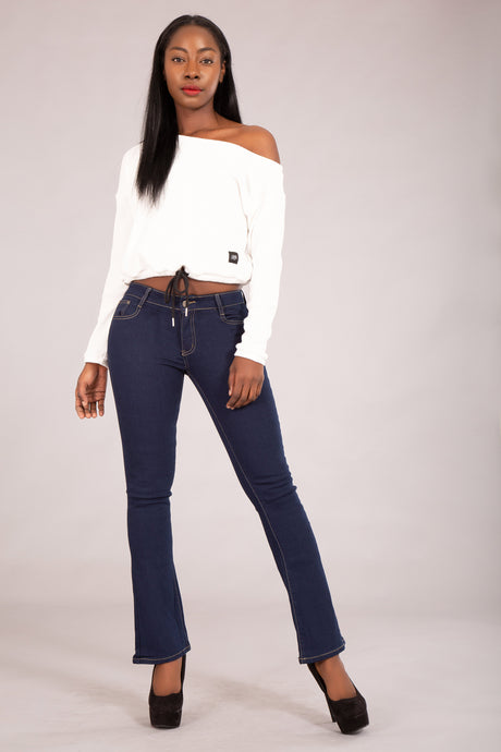 Wholesale Dark Blue Flare Jeans