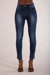 Wholesale Navy Blue Jeans with Studded Hem