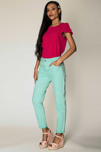 Wholesale Sea Green Straight Cut Jeans