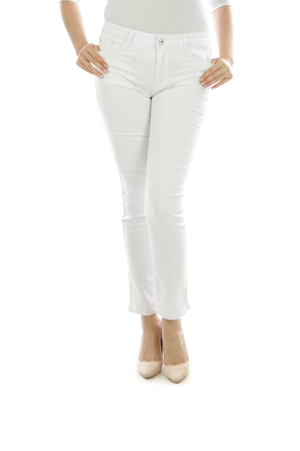 Wholesale White Straight Cut Jeggings