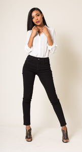 Wholesale Black Mid Waist Straight jeans
