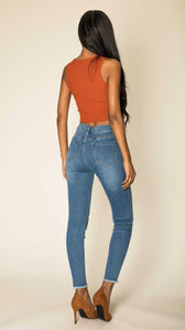 Wholesale Faded Blue High Waist Jeans