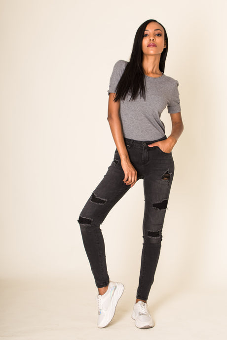 Wholesale Black Ripped Jeans