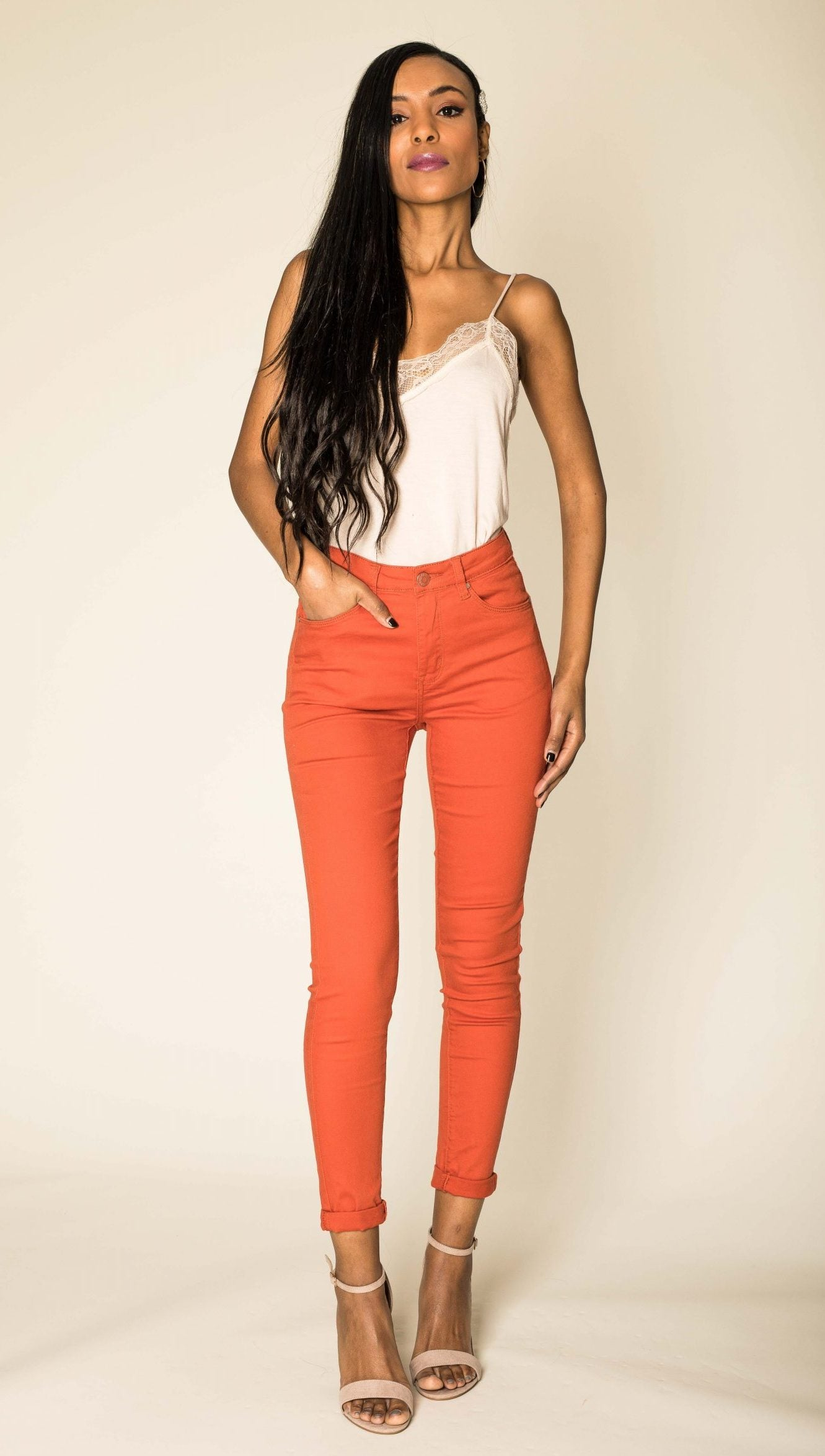 Wholesale Rust High Waist Jeans