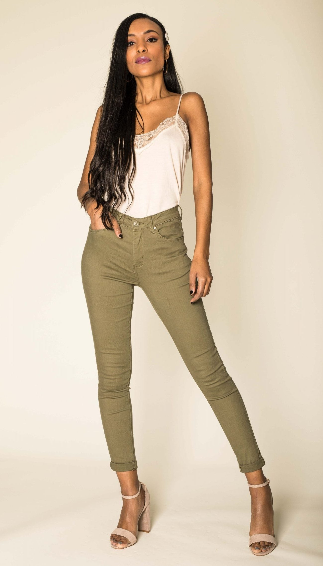 Wholesale Khaki High Waist Jeans