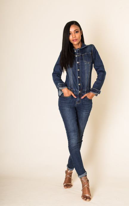 Wholesale Blue Jeans Button up Jumpsuit