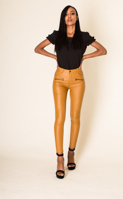 Wholesale Mustard Leather Look Trousers