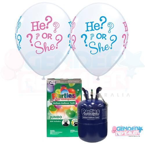 He? or She? Balloons + Helium Pack