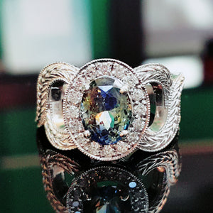 Parti Colored Sapphire and Diamond Halo Engagement Ring