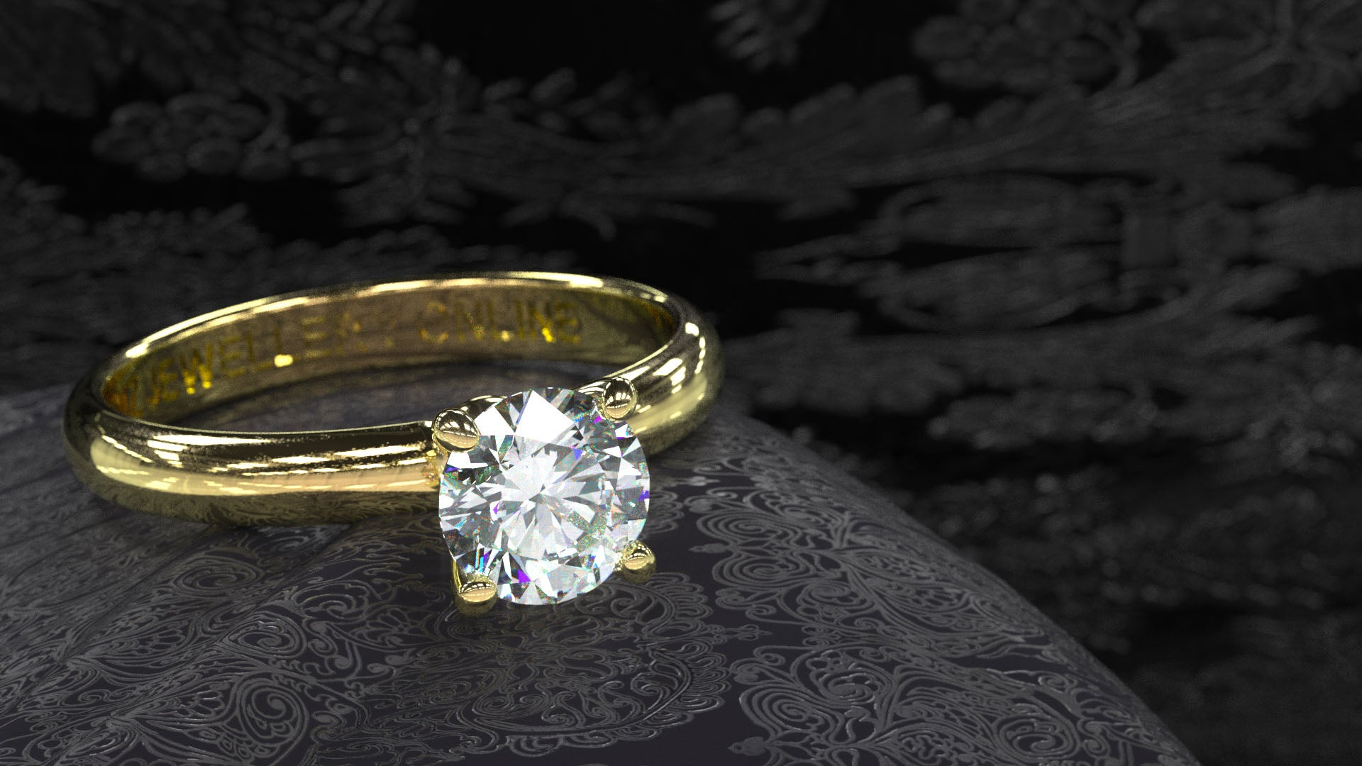 1 carat diamond solitaire engagement ring in yellow gold