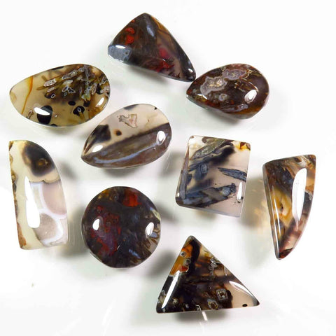 mixed shapes of agate cabochons