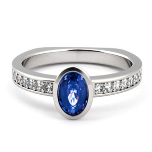 Azure Ring - Oval Sapphire in a bezel setting with diamond shoulders - K. Amani Fine Jeweller
