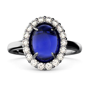 cabochon sapphire and diamond ring front view
