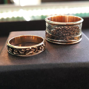 Grace and Lorenz's Meadow Motif Rings