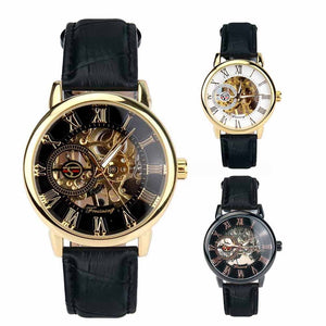 Agustus affordable men's skeleton watch Singapore - leather strap